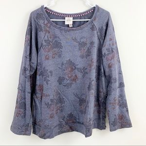 Knox Rose Dark Purple Floral Lace Up Side Sweater